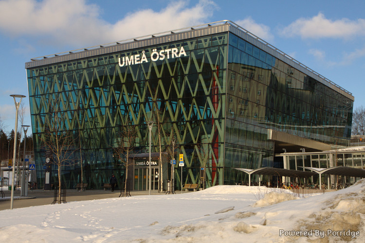 The Umeå East train station seen from the lower entrance